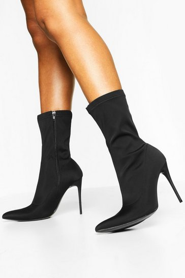 Black Pointed Toe Skinny Stiletto Sock Boots