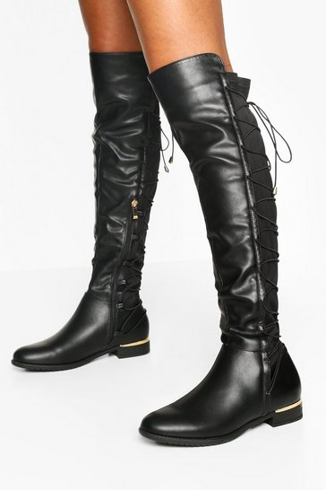 Womens Black Lace Back Knee Boots