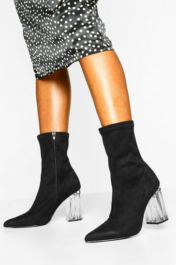 Womens Black Pointed Toe Clear Heel Sock Boots