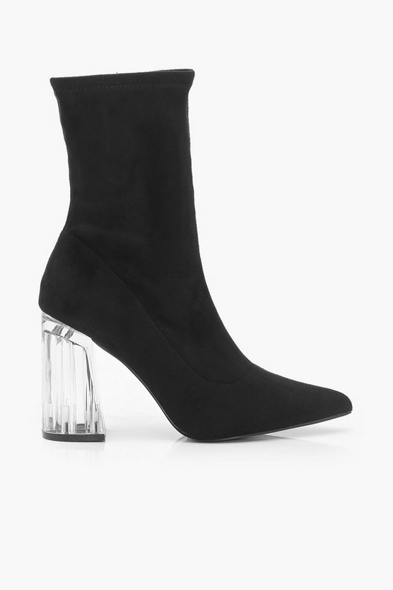 Pointed Toe Clear Heel Sock Boots