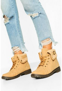 Sand Shearling Cuff Combat Boots