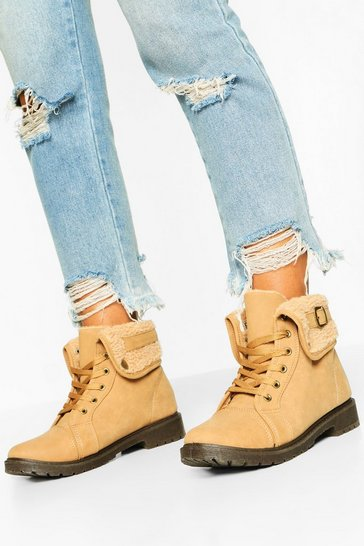 Womens Sand Shearling Cuff Hiker Boots