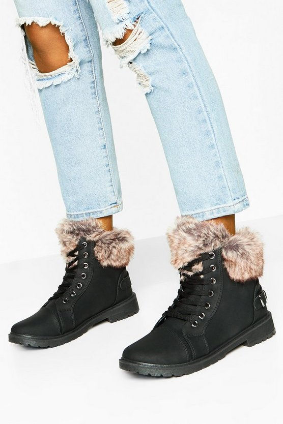 Faux Fur Cuff Hiker Boots