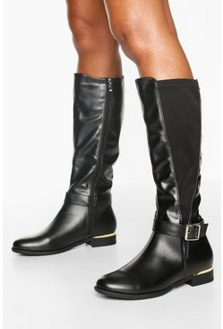 Black Buckle Detail Metal Trim Rider Boots