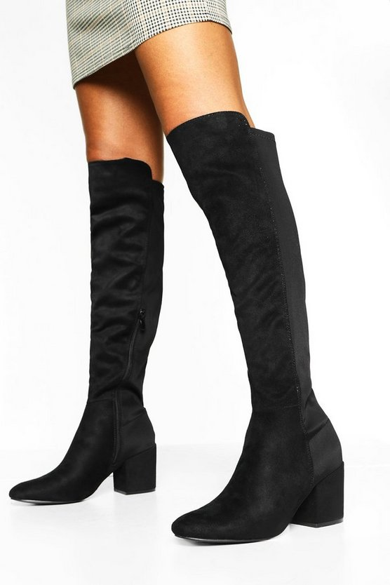Black Elastic Back Block Heel Knee Boots