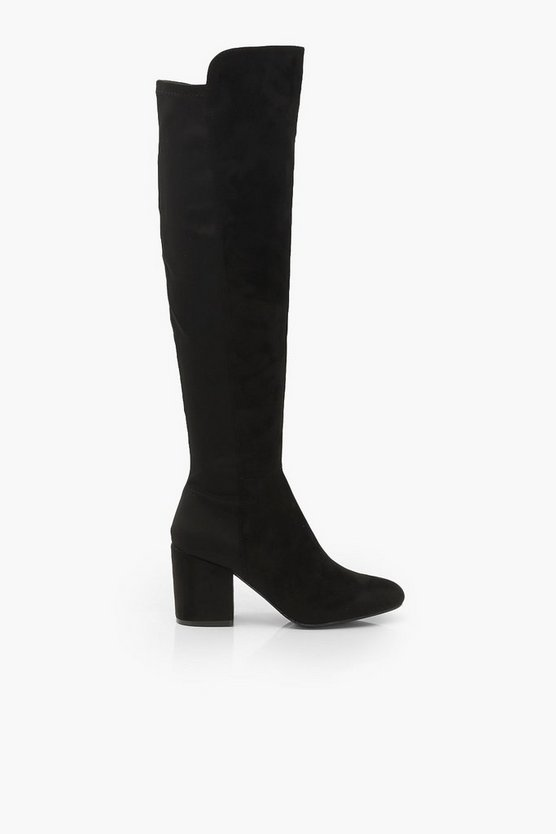 Elastic Back Block Heel Knee Boots