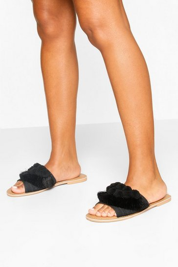 Black Wide Fit Pom Pom Frill Sliders