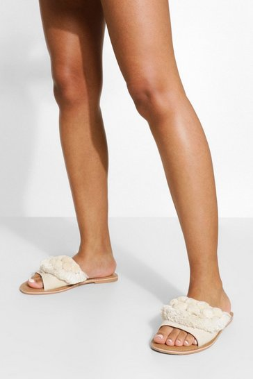 Natural Wide Fit Pom Pom Frill Sliders