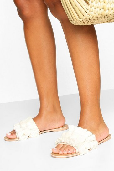 Natural Wide Fit Pom Pom Fringe Detail Sliders