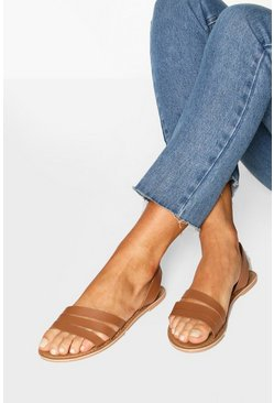 Tan Wide Fit Leather 3 Strap Sandals