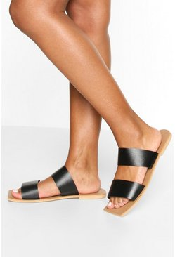 Black Wide Fit Double Strap Square Toe Sliders