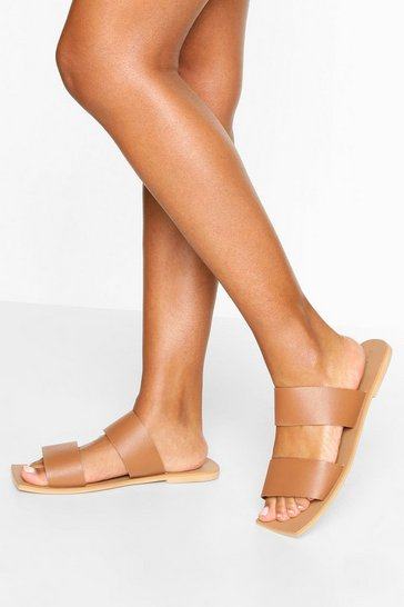 Tan Wide Fit Double Strap Square Toe Sliders