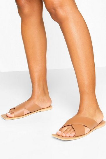 Tan Wide Fit Leather Cross Strap Square Toe Sliders