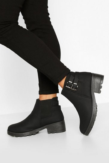 Black Wide Fit Buckle Detail Block Heel Chelsea Boots