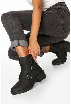 Black Wide FIt 3 Buckle Block Heel Biker Boots
