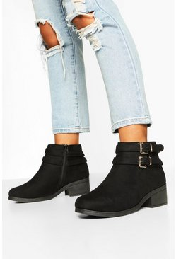 Black Wide Fit Two Buckle Block Heel Chelsea Boots
