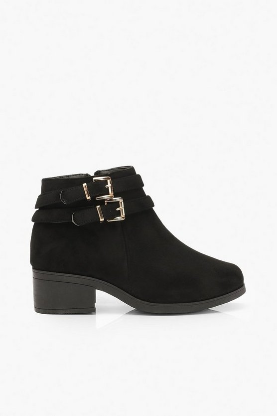 Wide Fit Two Buckle Block Heel Chelsea Boots