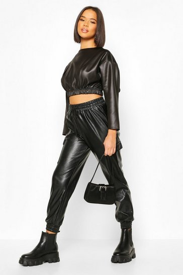 Black Leather Look Batwing Top With Seam Detail