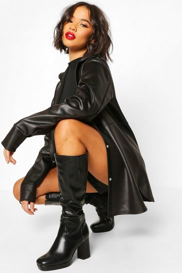 Black Leather Look Oversized Popper Front Shirt