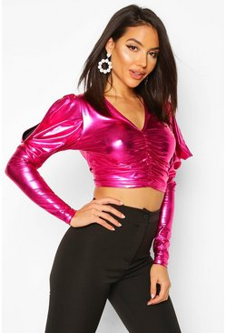 Pink Metallic Ruched Front Top With Dramatic Shoulders
