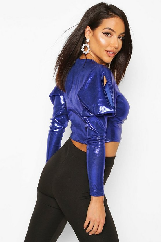 Metallic Ruched Front Top With Dramatic Shoulders