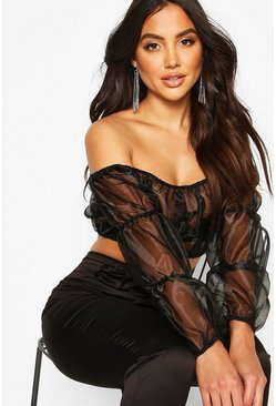 Womens Black Organza Crop Bardot Top With Tiered Sleeves