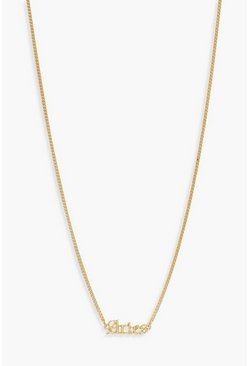 Gold Aries Slogan Necklace