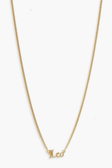 Gold Leo Slogan Necklace