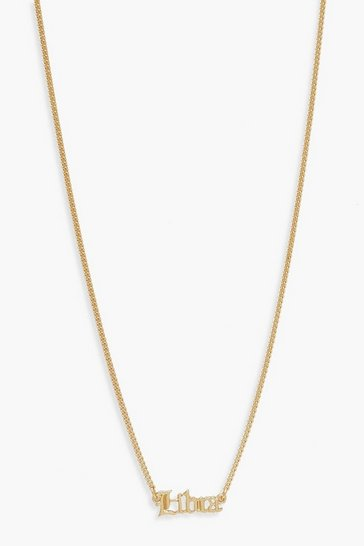 Gold Libra Slogan Necklace