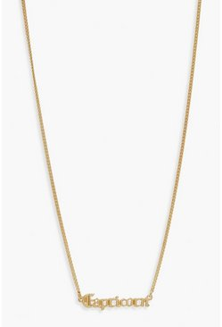 Gold Capricorn Slogan Necklace