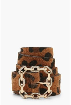 Leopard Print Diamante Detail Buckle Belt