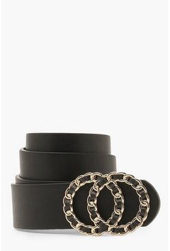 Black Chain & Fabric Double Ring Belt