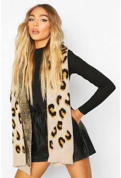 Brown Chunky Knit Leopard Jacquard Scarf