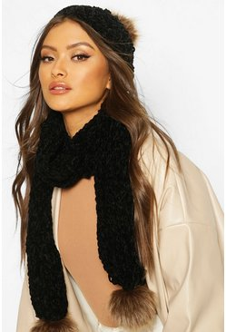 Black Chenille Faux Fur Pom Hat & Scarf Set
