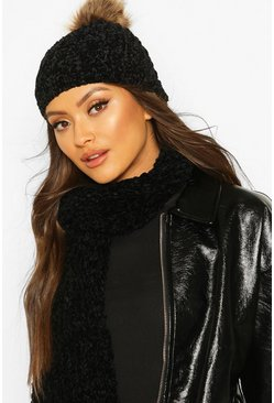 Black Chenille Pom Hat & Scarf Set