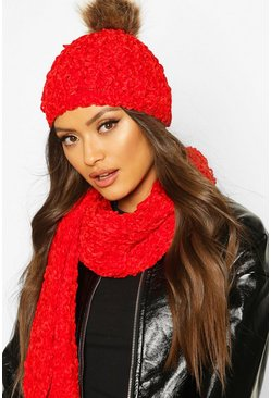 Red Chenille Pom Hat & Scarf Set