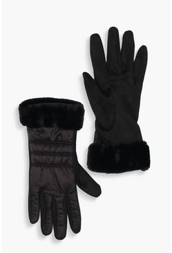 Womens Black Padded Faux Fur Trim Gloves