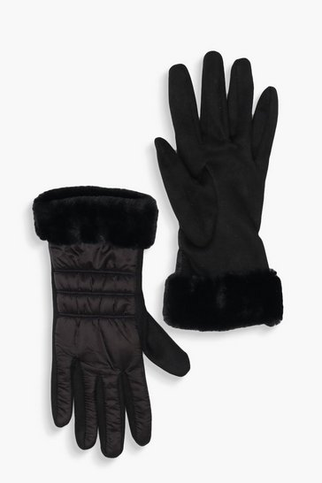 Black Padded Faux Fur Trim Gloves