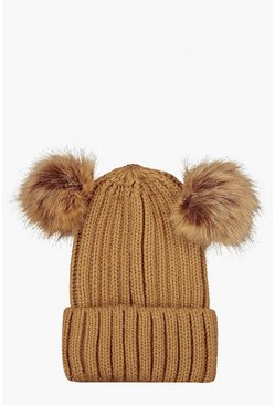 Camel Rib Knit Beanie With Double Faux Fur Pom