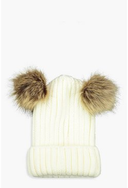 Womens Cream Rib Knit Beanie With Double Faux Fur Pom