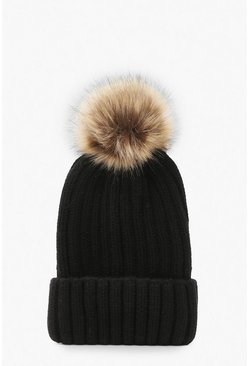 Womens Black Rib Knit Beanie With Large Faux Fur Pom