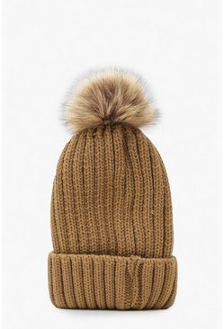 Camel Rib Knit Beanie With Large Faux Fur Pom