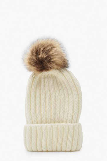 Womens Cream Rib Knit Beanie With Large Faux Fur Pom