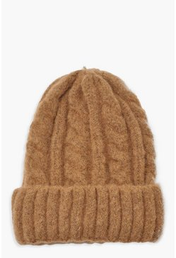 Womens Camel Chunky Mixed Marl Cable Knit Beanie