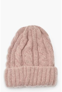 Pink Chunky Mixed Marl Cable Knit Beanie
