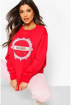 Womens Red Amoureux Foil Print Sweat