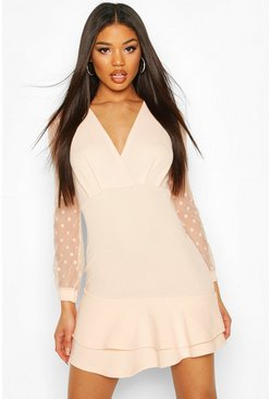 Nude Ruffle Hem Mini Dress With Spot Mesh Sleeves
