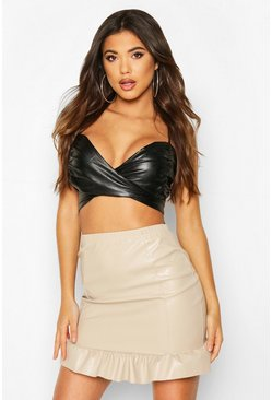 Stone PU Ruffle Hem Mini Skirt