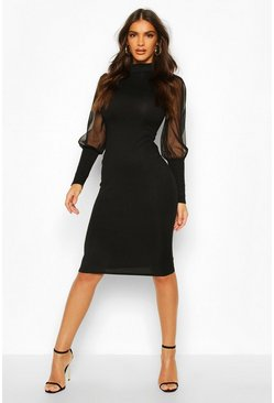 Black Turtle Neck Rib Dress With Mesh Sleeves