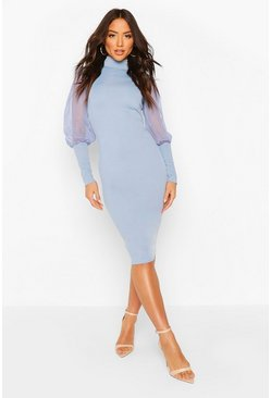 Grey flannel Turtle Neck Rib Dress With Mesh Sleeves
